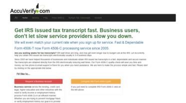 Get Accuverify com news - Get tax transcript fast  Delivered