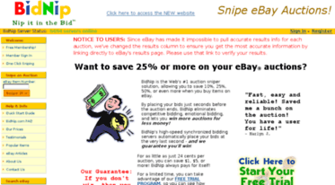 Get Legacy Bidnip Com News Auction Sniper And Sniping Service And Software For Ebay Auctions Ebay Auction
