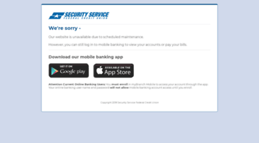 Ssfcu Login In >> Get Maintenance Ssfcu Org News Security Service Federal