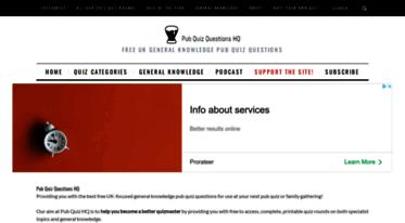 Get Pubquizquestionshq com news - Pub Quiz Questions HQ