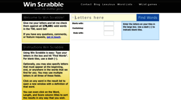win scrabble using win scrabble is easy type your letters in the box and hit find words for blank tiles use a dash